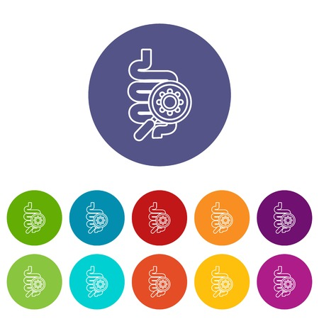 Intestine virus icons color set vector for any web design on white background