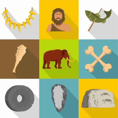 Prehistoric way icons set. Flat set of 9 Prehistoric way vector icons for web isolated on white background Vektoros illusztráció