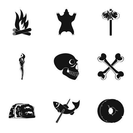 Antiquated icons set. Simple set of 9 antiquated vector icons for web isolated on white background