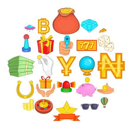 Disorderly house icons set, cartoon style