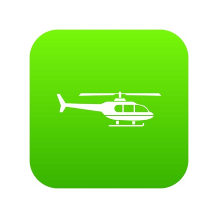 Military helicopter icon digital green for any design isolated on white vector illustration