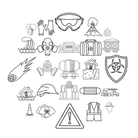 Tragic icons set. Outline set of 25 tragic vector icons for web isolated on white background