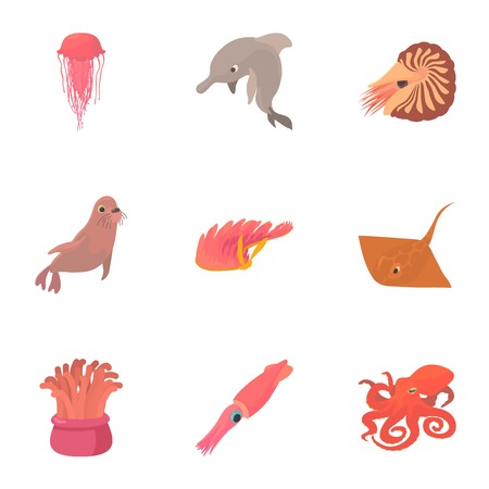 Resident marine life icons set. Cartoon set of 9 resident marine life vector icons for web isolated on white background Illustration
