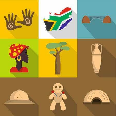 Voodoo icons set. Flat set of 9 old voodoo vector icons for web isolated on white background