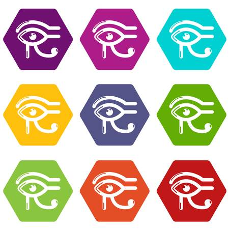 Eye horus icons 9 set coloful isolated on white for web 向量圖像