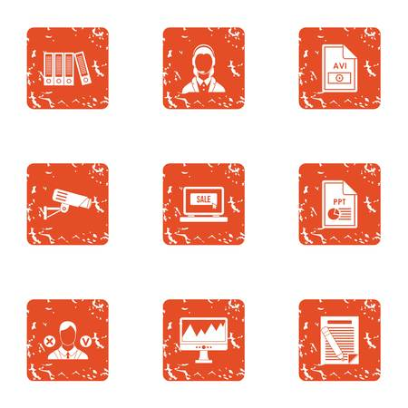 Computer library icons set. Grunge set of 9 computer library vector icons for web isolated on white background Vectores