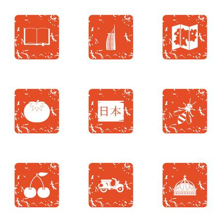 Nippon icons set. Grunge set of 9 nippon vector icons for web isolated on white background