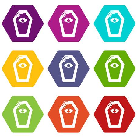 Pharaoh coffin icons 9 set coloful isolated on white for web Illustration