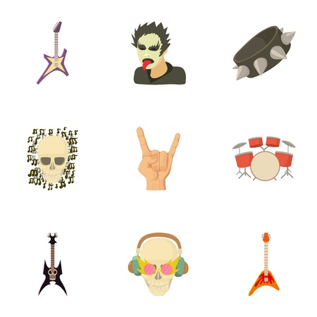 Music taste icons set. Cartoon set of 9 music taste vector icons for web isolated on white background