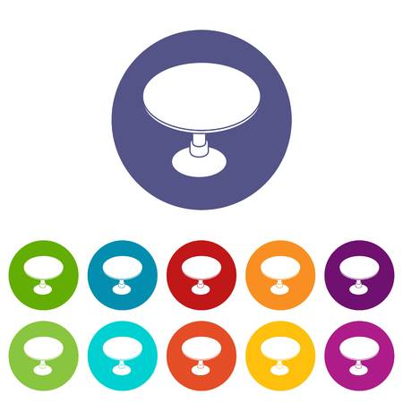 Round table icons color set vector for any web design on white background Vettoriali