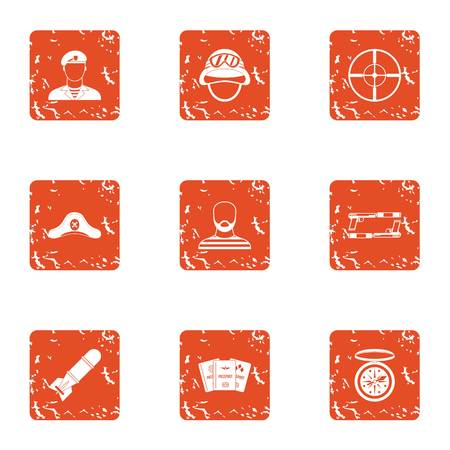 Collide icons set. Grunge set of 9 collide vector icons for web isolated on white background