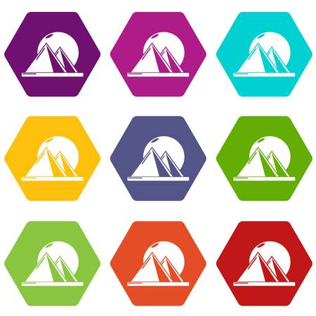 Pyramid egypt icons 9 set coloful isolated on white for web