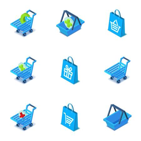 Large purchase icons set. Isometric set of 9 large purchase vector icons for web isolated on white background