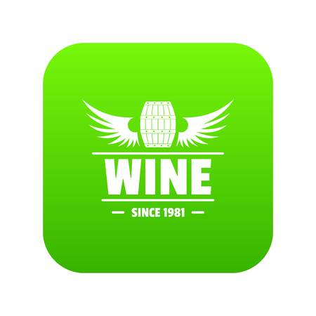Wine barrel icon green vector isolated on white background
