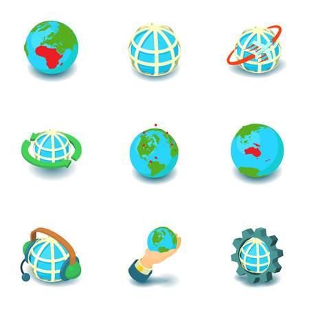 Deglobalization icons set. Isometric set of 9 deglobalization vector icons for web isolated on white background Illustration