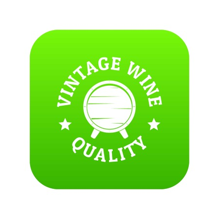 Vintage wine icon green vector isolated on white background