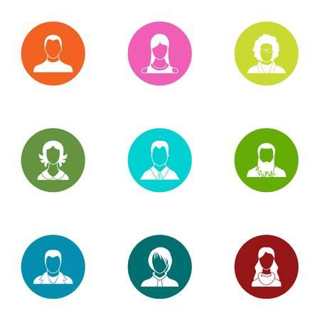 Physiognomy icons set. Flat set of 9 physiognomy vector icons for web isolated on white background Illustration