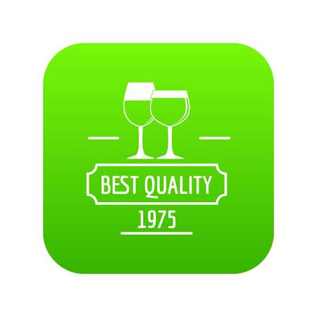 Wineglass icon green vector Illustration