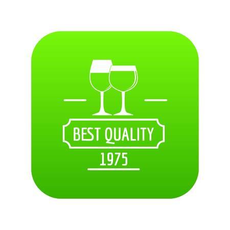 Wineglass icon green vector Stock Vector - 106085574