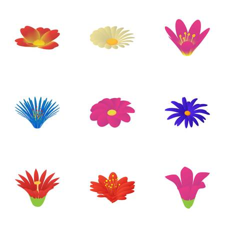 Passionflower icons set. Cartoon set of 9 passionflower vector icons for web isolated on white background