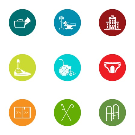 Therapist icons set, flat style