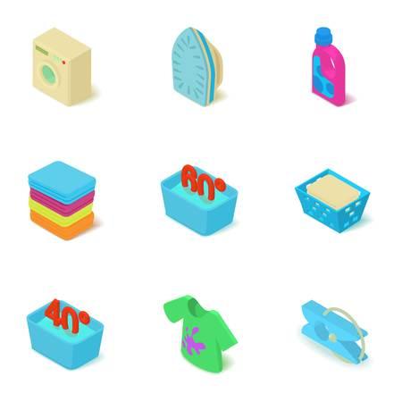 Washing plant icons set. Isometric set of 9 washing plant vector icons for web isolated on white background Illustration