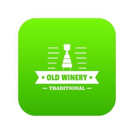 Old winery icon green vector