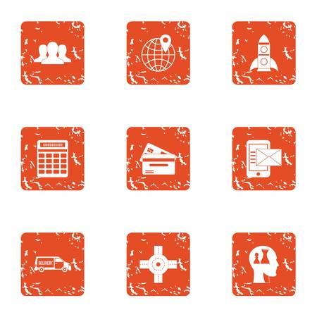 Ensemble d'icônes de génie. Ensemble grunge de 9 icônes vectorielles de génie pour le web isolé sur fond blanc