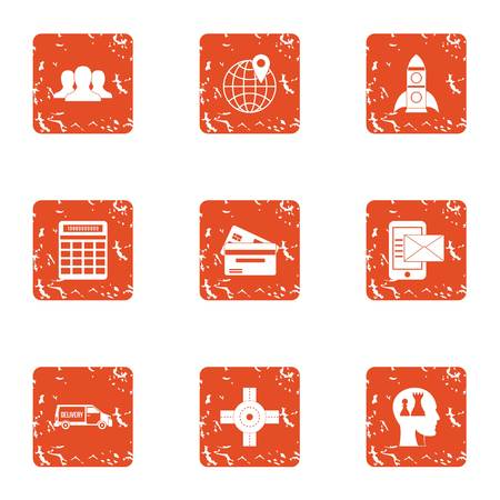 Genius icons set. Grunge set of 9 genius vector icons for web isolated on white background