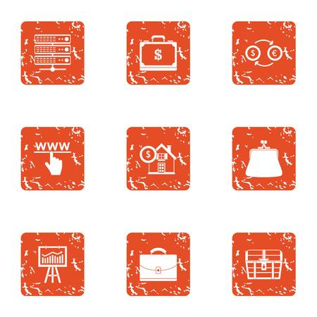 Stock exchange icons set. Grunge set of 9 stock exchange vector icons for web isolated on white background