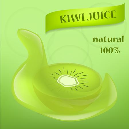 Kiwi fruit food slice banner, realistic style
