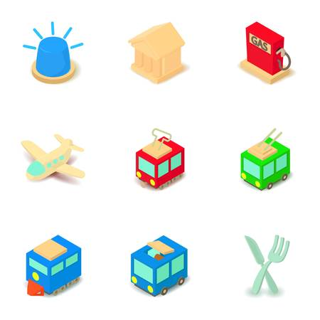 Social transport icons set. Isometric set of 9 social transport vector icons for web isolated on white background Çizim