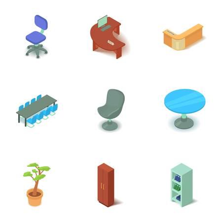 Office premise icons set. Isometric set of 9 office premise vector icons for web isolated on white background