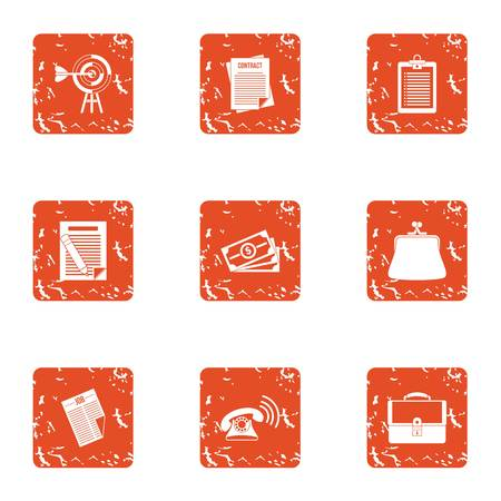 Mortgage loan icons set. Grunge set of 9 mortgage loan vector icons for web isolated on white background Illusztráció