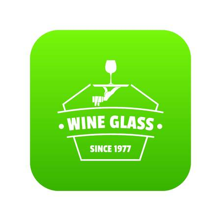 Wine glass icon green vector