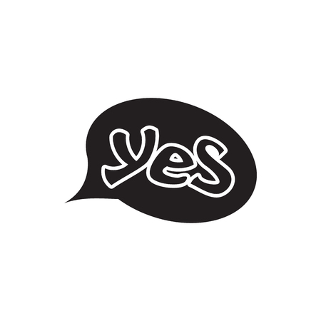Word yes in bubble speech icon in simple style isolated on white background. Click and choice symbol