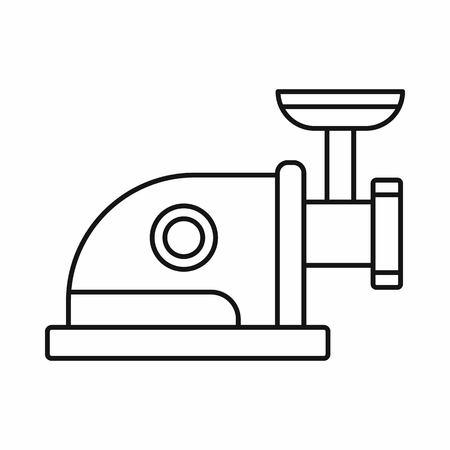 Meat grinder icon in outline style isolated on white background