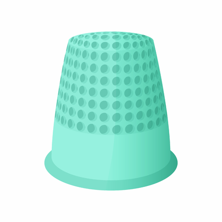 Thimble icon in cartoon style isolated on white background. Accessory symbol Banque d'images