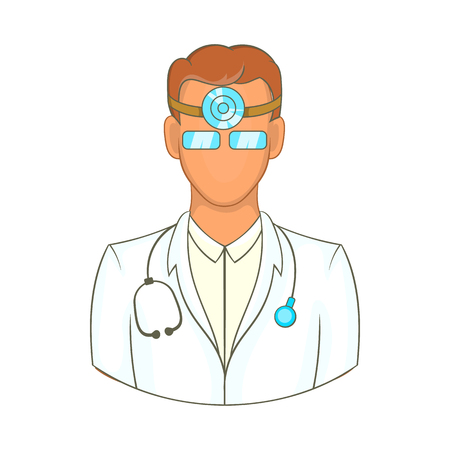 Doctor with stethoscope and reflector frontal of otolaryngologist icon in cartoon style on a white background Stock Photo