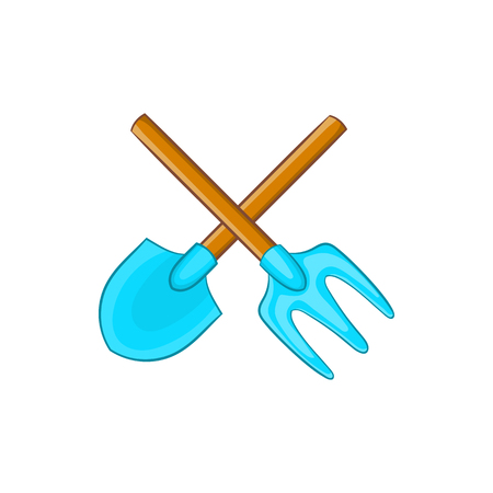 Shovel and pitchfork icon in cartoon style on a white background