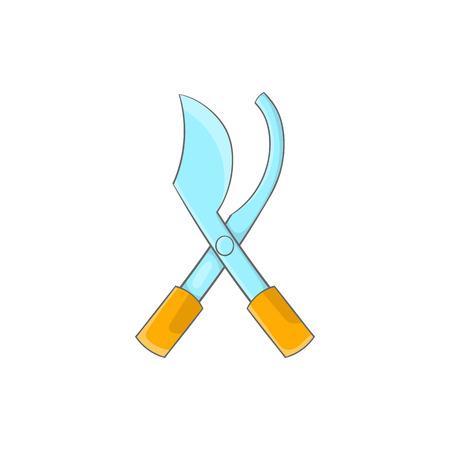 Garden pruner icon in cartoon style on a white background