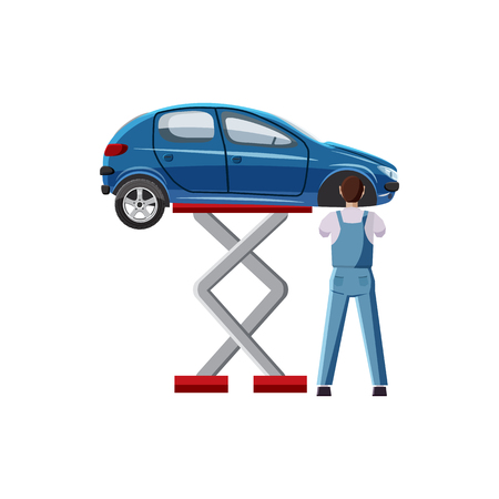 Blue car on a scissor lift platform icon in cartoon style on a white background