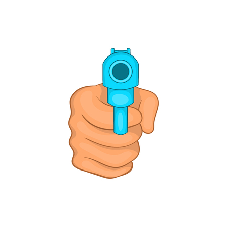Hand pointing with the gun icon in cartoon style on a white background Stock Photo