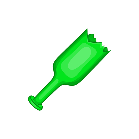 Broken green bottle as weapon icon in cartoon style on a white background