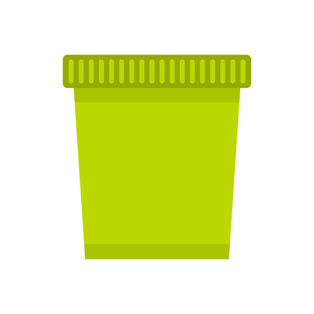 Green trash basket icon in flat style isolated on white background Stock Photo