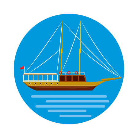 Ship icon in cartoon style on a white background Stock Photo