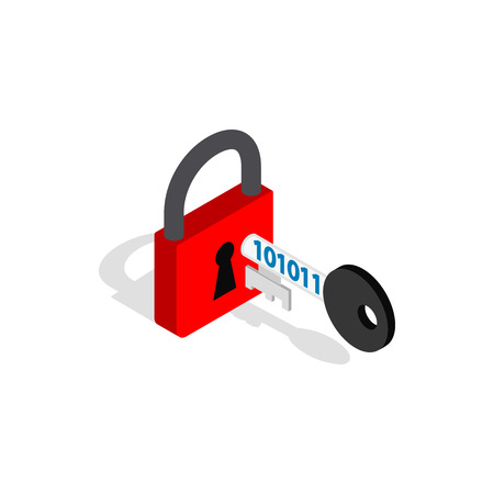 Red padlock and key icon in isometric 3d style on a white background 免版税图像