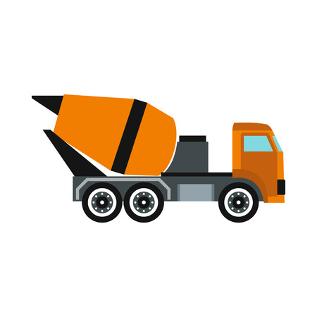 Truck mixer icon in flat style isolated on white background. Transportation symbol Banque d'images