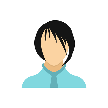 Brunette girl icon in flat style on a white background