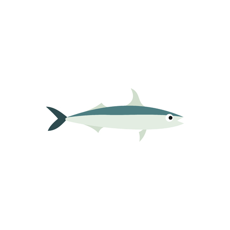 Saury fish icon in flat style